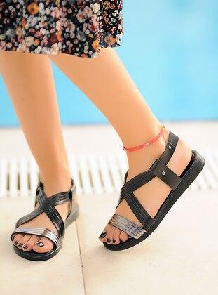 Silver - Black - Sandal - Sandal