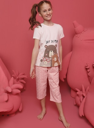 Heart Print - Crew neck - Cream - Girls` Pyjamas