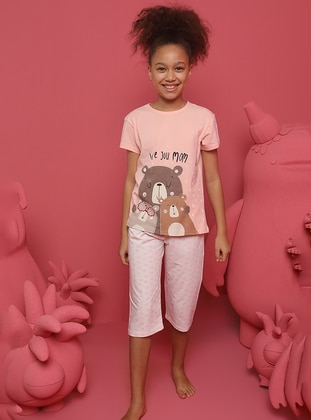 Heart Print - Crew neck - Salmon - Girls` Pyjamas
