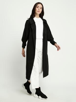 White - Black - Shawl Collar - Trench Coat