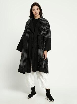 Black - Stripe - Shawl Collar - Trench Coat
