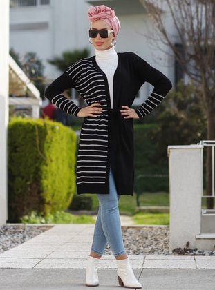Black - Stripe - Unlined - Acrylic -  -  - Knit Cardigans - Por La Cara