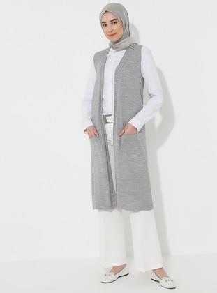 Gray - Unlined - Acrylic -  -  - Vest