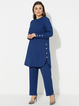Indigo - Blue - Crew neck - Unlined - Plus Size Suit - GELİNCE