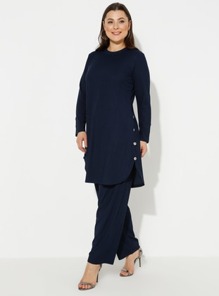 Navy Blue - Plus Size Suit - GELİNCE
