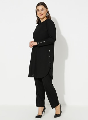 Black - Crew neck - Unlined - Plus Size Suit - GELİNCE