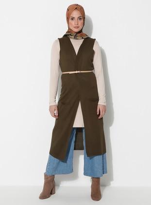 Khaki - Unlined - Acrylic -  -  - Vest