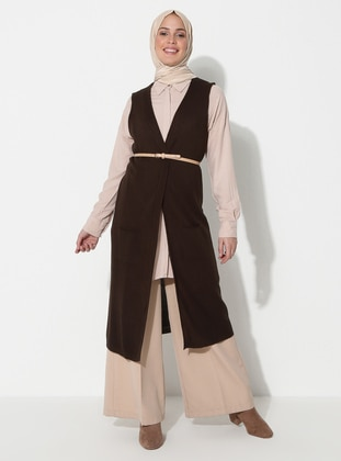 Brown - Unlined - Acrylic -  -  - Vest