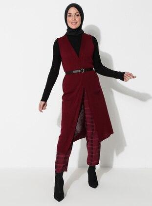 Maroon - Unlined - Acrylic -  -  - Vest