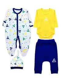 Multi - Crew neck -  - Unlined - Navy Blue - Baby Suit