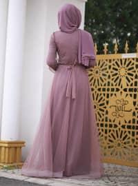 Dusty Rose - Fully Lined - Crew neck - Viscose - Muslim Evening Dress