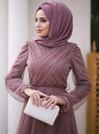 Dusty Rose - Fully Lined - Crew neck - Viscose - Muslim Evening Dress