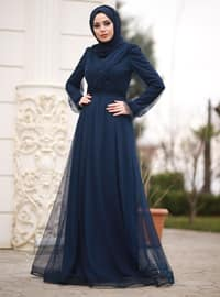 Navy Blue - Fully Lined - Crew neck - Viscose - Muslim Evening Dress
