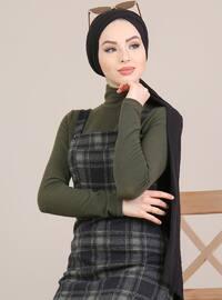 Haki - Siyah - Çok Renkli - Kare Yaka - Astarsız Kumaş - - Elbise