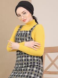 Hardal - Siyah - Çok renkli - Kare yakalı - Astarsız kumaş - - Elbise
