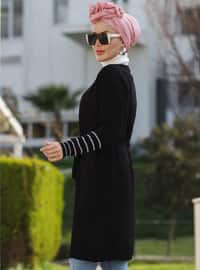 Black - Stripe - Unlined - Acrylic -  -  - Knit Cardigans