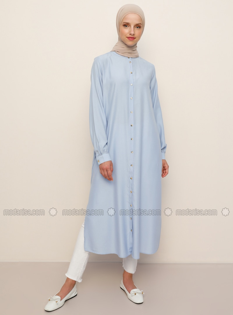 Blue - Crew neck -  - Viscose - Tunic