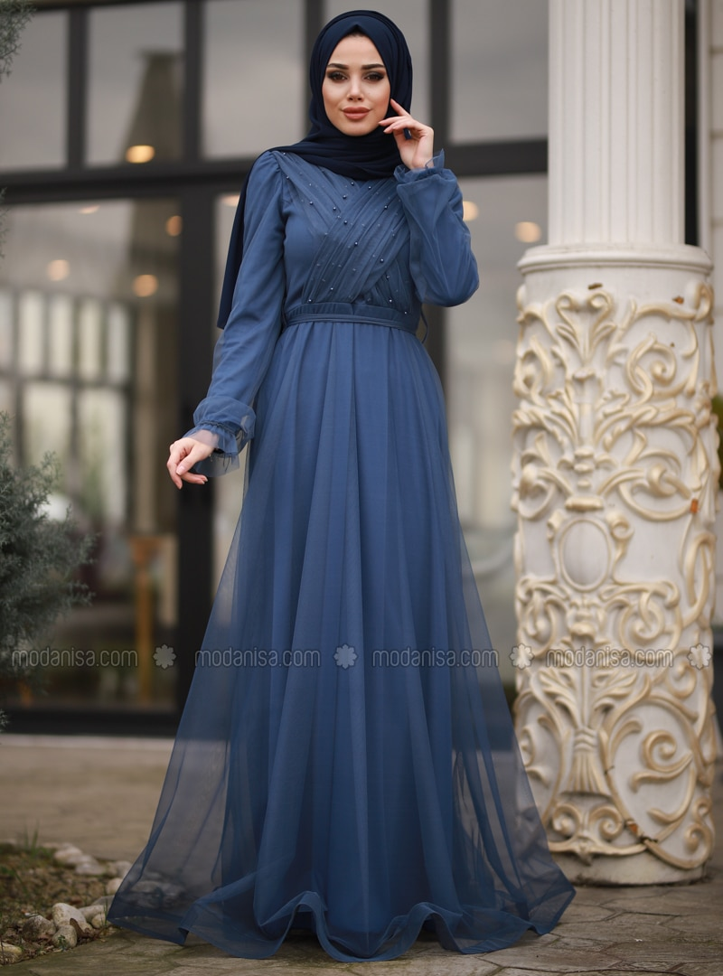 Indigo - Fully Lined - Crew neck - Viscose - Muslim Evening Dress