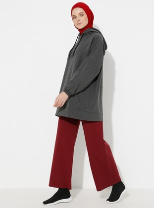 Maroon - Cotton - Pants
