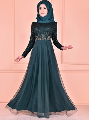 Green - Fully Lined - Crew neck - Muslim Evening Dress - AYŞE MELEK TASARIM