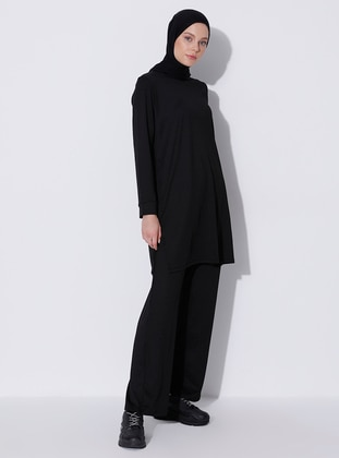 Black - Viscose - Crew neck - Tracksuit Set