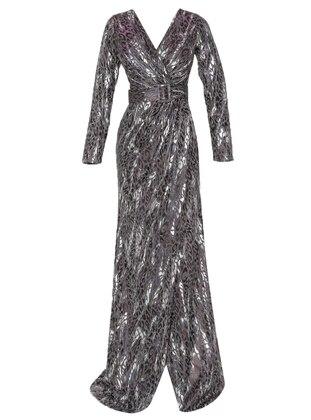 Smoke - Multi - Fully Lined - V neck Collar - Muslim Evening Dress