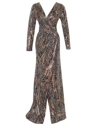 Gold - Gold - Multi - Fully Lined - V neck Collar - Muslim Evening Dress