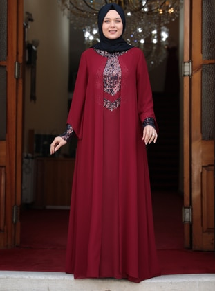 Maroon - Unlined - Crew neck - Muslim Plus Size Evening Dress - Amine Hüma