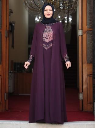 Purple - Purple - Unlined - Crew neck - Plus Size Dress - Amine Hüma