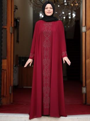 Maroon - Unlined - Crew neck - Muslim Plus Size Evening Dress - Amine Hüma