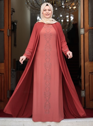 Terra Cotta - Unlined - Crew neck - Muslim Plus Size Evening Dress - Amine Hüma