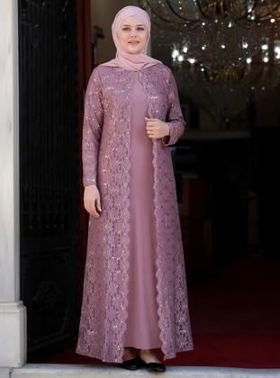 Dusty Rose - Unlined - Crew neck - Muslim Plus Size Evening Dress - Amine Hüma