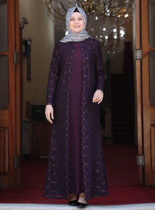 Purple - Unlined - Crew neck - Muslim Plus Size Evening Dress - Amine Hüma