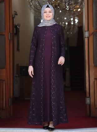 Purple - Unlined - Crew neck - Muslim Plus Size Evening Dress - Amine Hüma