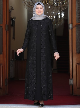 Black - Unlined - Crew neck - Muslim Plus Size Evening Dress - Amine Hüma