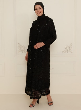 Black - Unlined - Crew neck - Muslim Plus Size Evening Dress - Amine Hüma