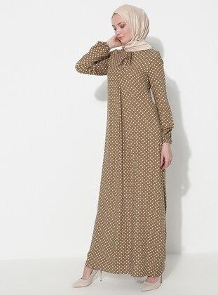 Olive Green - Polka Dot - Crew neck - Unlined - Viscose - Dress