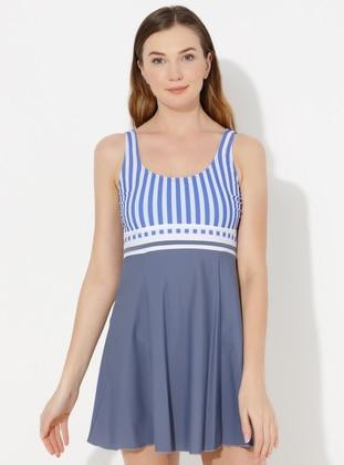Gray - Blue - Stripe - Fully Lined - Half Covered Switsuits - AKBENİZ