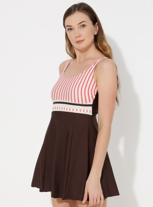 Brown - Stripe - Fully Lined - Half Covered Switsuits