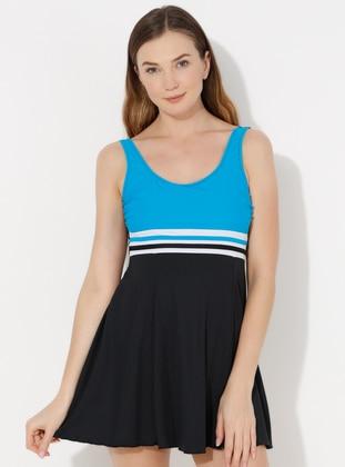 Turquoise - Stripe - Fully Lined - Half Covered Switsuits