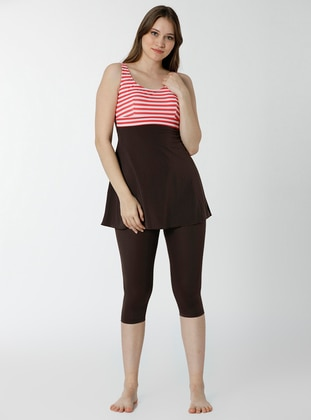 Brown - Multi - Half Covered Switsuits