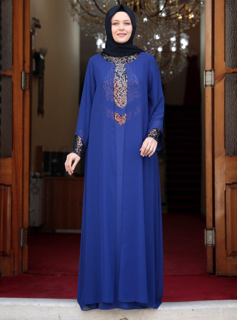 Tesettür Büyük Beden Abiye Elbise Amine Hüma Saks Kadın 56