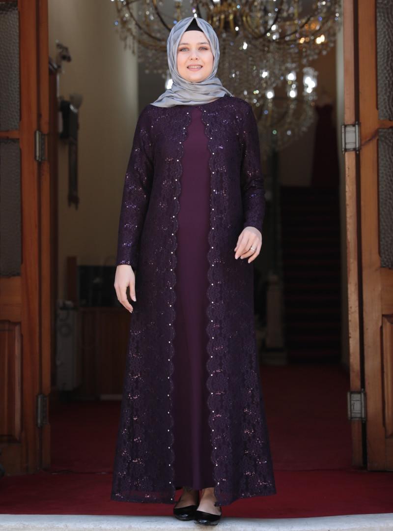 Tesettür Büyük Beden Abiye Elbise Amine Hüma Mor Kadın 54