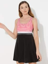 Red - Black - Stripe - Fully Lined - Half Covered Switsuits