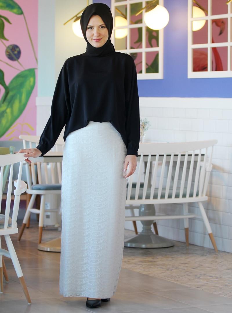 Tesettür Abiye Etek Nurkombin Beyaz Kadın 48