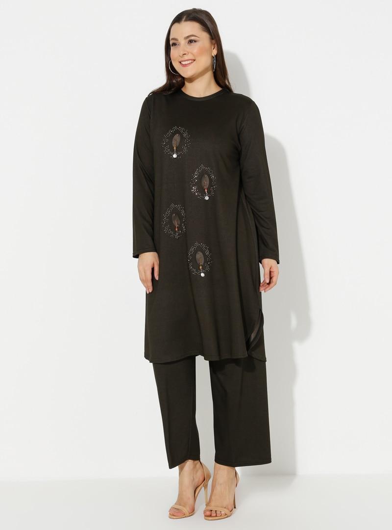 Plus Size Suit GELİNCE Khaki