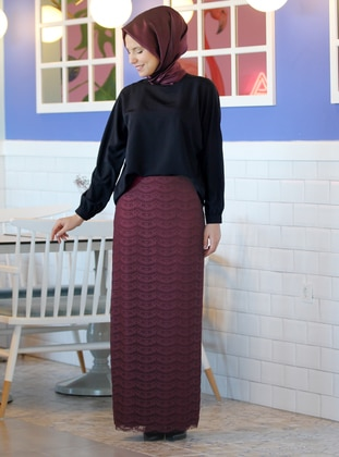 Fully Lined - Plum -  - Evening Skirt - Nurkombin