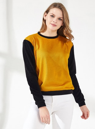 Yellow - Black - Crew neck -  - Viscose - Blouses