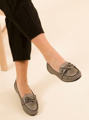 Silver - Flat - Flat Shoes