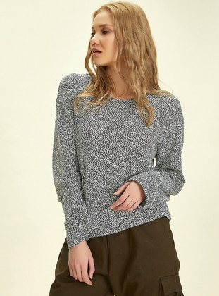 Gray - Crew neck -  - Blouses